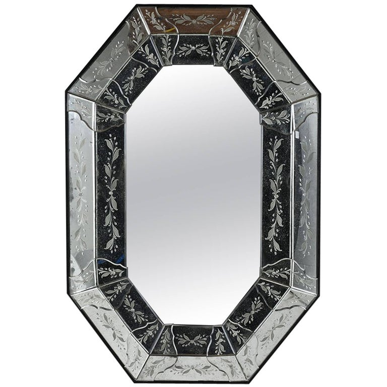 Octagonal Etched Venetian Mirror For Sale