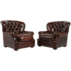 Pair of Tufted Leather Club Chairs