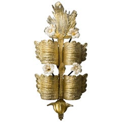 Tiered Pale Gold Murano Sconces by Barovier & Toso, circa 1930s