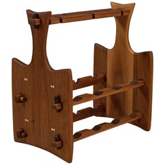 Mid Century California Studio Walnut Wine Rack