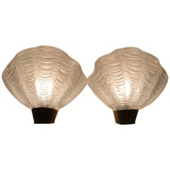 """Pair of 1940 Swedish ASEA Brass and Glass Wall Sconce """"Coquille"""""""