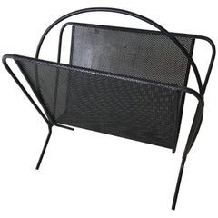 Magasine Rack Pierced Metal in the Style of Mathieu Mategot French, circa 1955