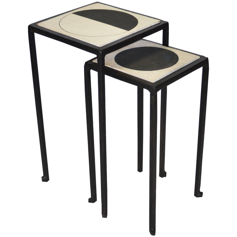 Nesting Table set by J.M. Szymanski & MQuan Studio, Blackened Steel and Ceramic