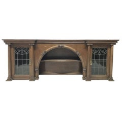 John Ednie Arts & Crafts Glasgow Oak over Mantle, Carved Cherubs and Stain Glass