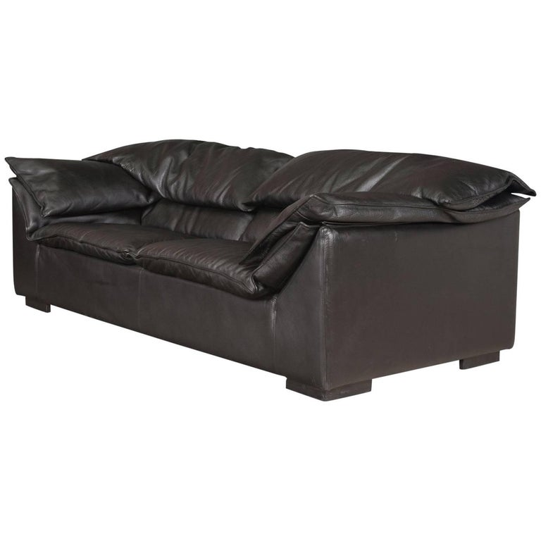 Danish Modern Black Leather Sofa by Niels Eilersen For Sale at 1stdibs