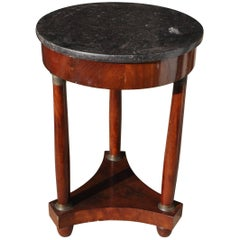 XIX Round Coffee Table in Empire Style with Three Legs and a Black Marble Top