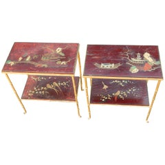 1950 Pair of Tables Maison Baguès Deco Bamboo Bronze Golden Trays China Lacquer