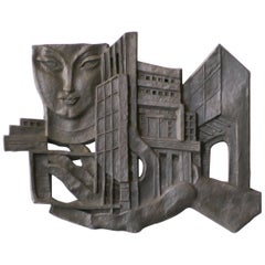 Architectural Wall Sculpture by Leon Leyritz