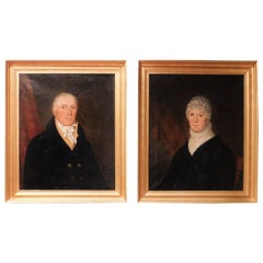 Oil on Canvas Pair of Portraits of a Couple, Probably New York, circa 1810