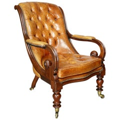 William IV Mahogany and Leather Armchair