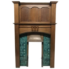 Arts & Crafts Oak Fireplace with Original Turquoise Floral Tiles and Copper Hood