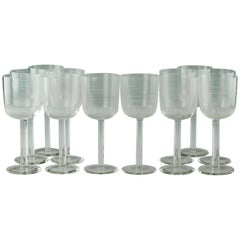 Handblown Clear Venetian Glass Goblets with Threaded Decoration Set of 12