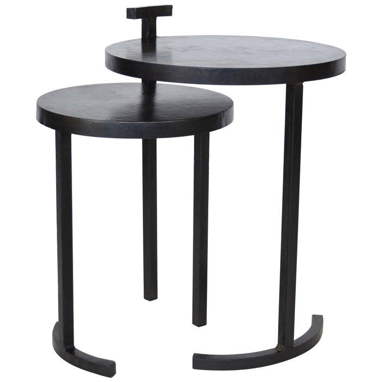 Nesting Table Set, Handmade by J.M. Szymanski in Cast Blackned and Waxed Steel 1