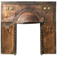 Arts & Crafts Copper Fireplace Inset with Green Ruskin Jewels and Two Hearts