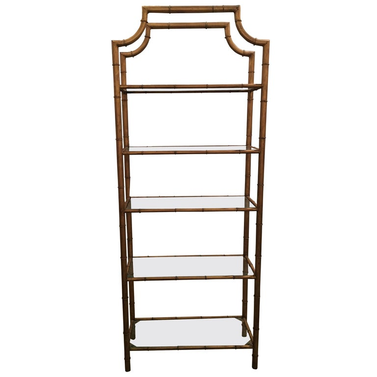 pagoda faux bamboo etagere metal and glass shelves for sale at 1stdibs. Black Bedroom Furniture Sets. Home Design Ideas