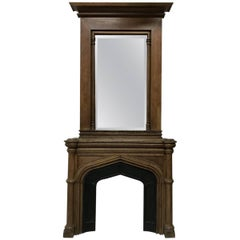 Gothic French Oak Fireplace with Original Overmantel Mirror and Turned Pillars