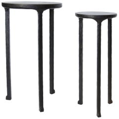 Set of Two / Pair of Hand Made Blackened Steel Cocktail Tables by J.M. Szymanski