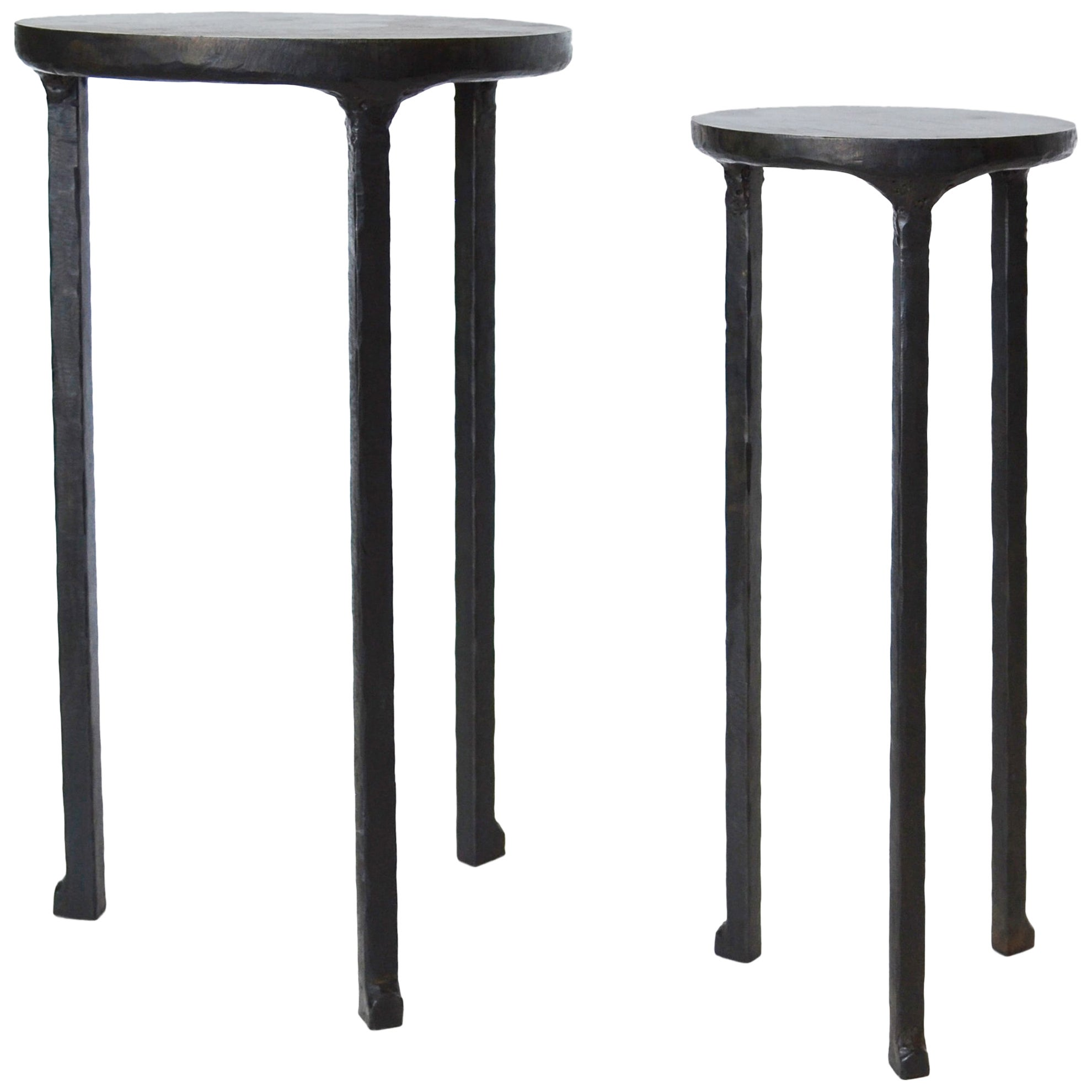 Cocktail Table Pair Modern Hand-Shaped Round Handmade Blackened and Waxed Steel