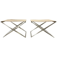 Pair of Poul Kjaerholm PK91 Folding Stools