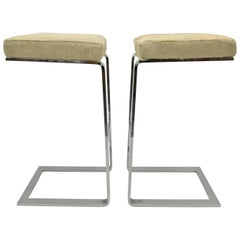 Pair of Chrome Pace Collection Cantilever Bar Stools