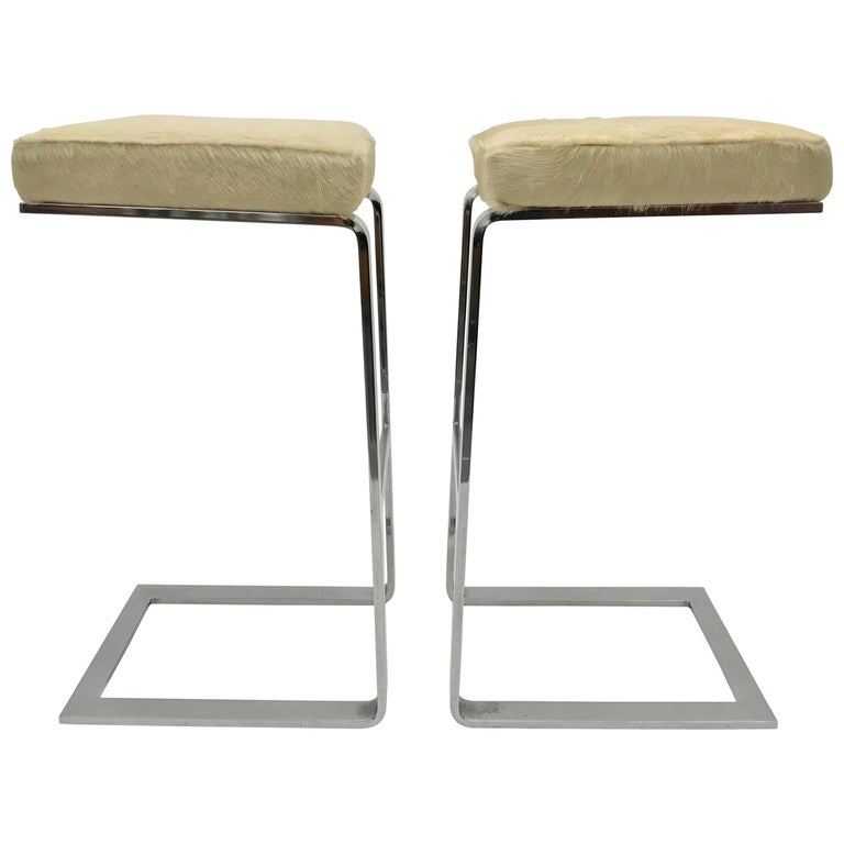 Pair Of Chrome Pace Collection Cantilever Bar Stools At