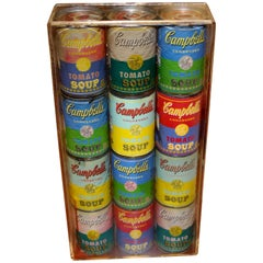 12 Andy Warhol Campbell Soup Cans in a Lucite Box