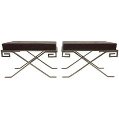 Pair of Modern Greek Key Neoclassical Benches after Jean Michel Frank