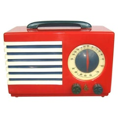 1940s Emerson Red, White and Blue Patriot Catalin/Bakelite Tube Radio