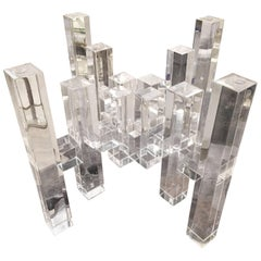 Lucite Skyscraper Coffee Cocktail Table Architectural Columns