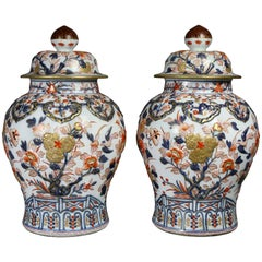 Pair of Samson Export Style Covered Temple Jars