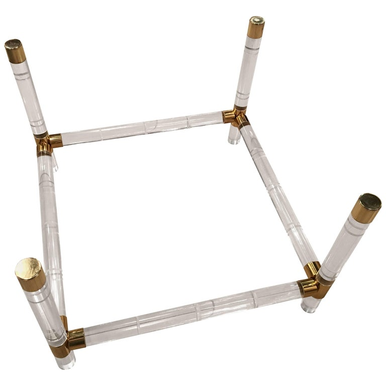 Charles Hollis Jones Brass and Lucite Faux Bamboo Coffee Cocktail Table