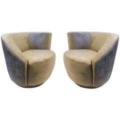 Pair of Swivel Lounge Chairs by Vladimir Kagan