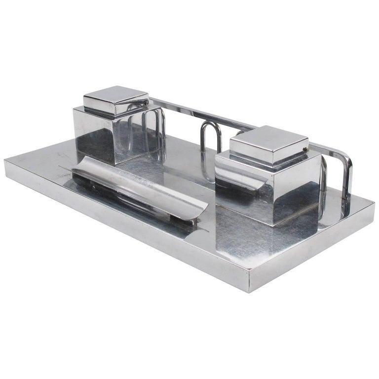 Jacques Adnet Modernist Art Deco Chrome Desk Double Inkwell
