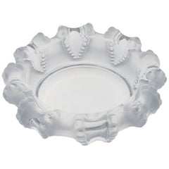 "Lalique France Large ""Cannes"" Crystal Cigar Ashtray Bowl Dish Octopus Pattern"