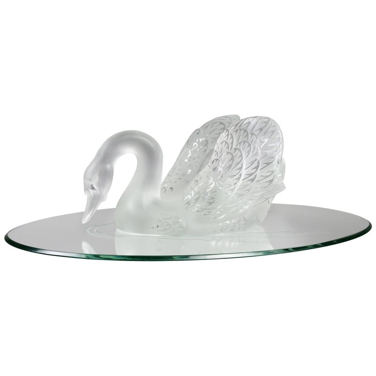 Lalique Crystal Figure of a Swan and Mirrored Base
