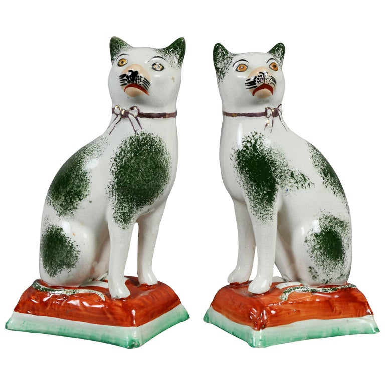 Pair of Staffordshire Pottery Cats For Sale