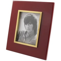 Oxblood Lacquer and Polished Brass Picture Photo Frame Signed Jean Claude Mahey