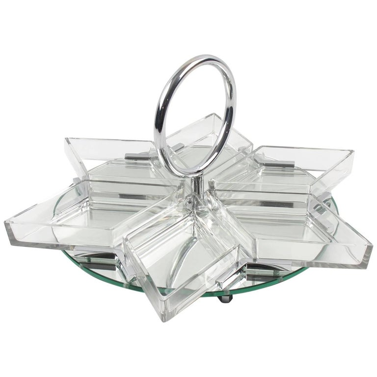 French Art Deco Cocktail Set Barware Mirror Serving Tray and Dishes, circa 1930s