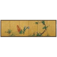 "Kishi Ganryo ""Flowers of the Four Seasons"" Japanese Folding Screen"