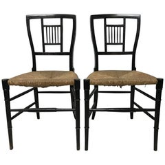 E W Godwin, Pair of Anglo-Japanese Ebonized Rush Seat Chairs
