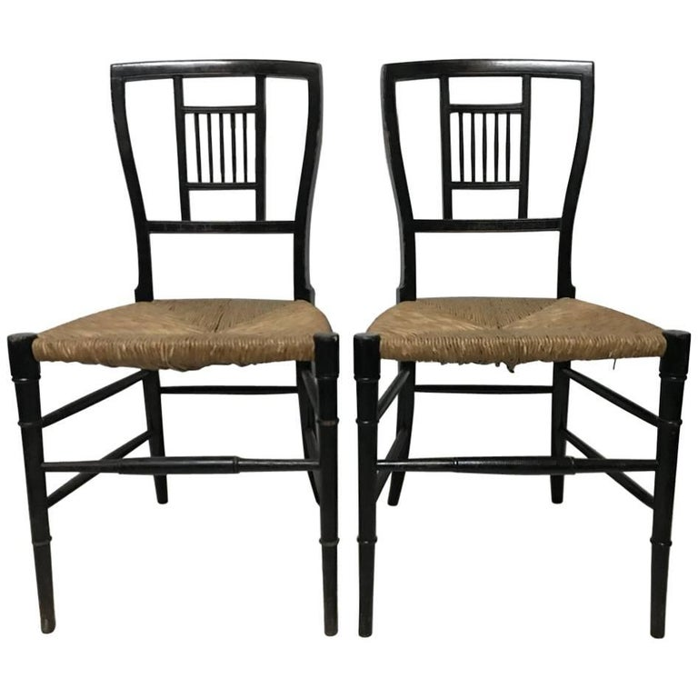 E W Godwin Pair Of Anglo Japanese Ebonized Rush Seat Chairs For Sale At 1stdibs