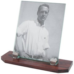 Art Deco Modernist Picture Photo Frame Macassar Wood and Chrome Holders