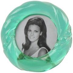 Transparent Aqua Green Lucite Round Picture Photo Frame, Italy, circa 1970s