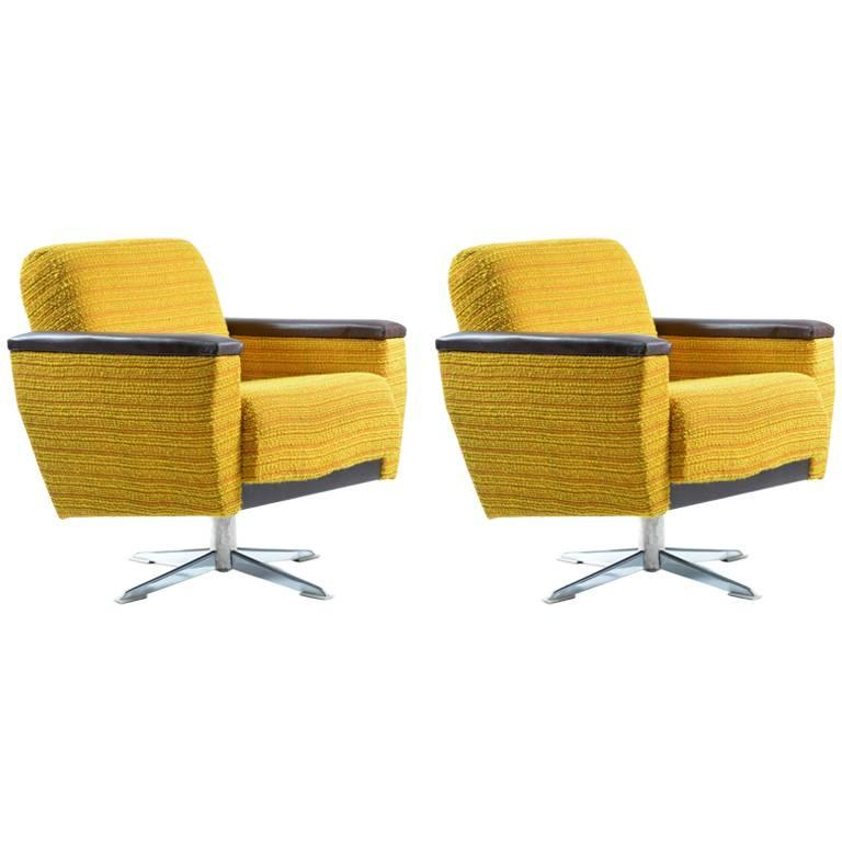 Bright Swivel Club Chairs, Czechoslovakia, circa 1960s For Sale