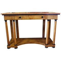 Biedermeier Console Birch Table with Pink Marble