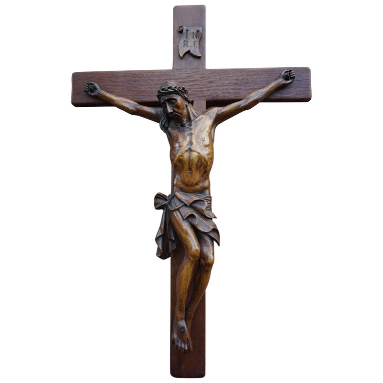 Large Hand-Carved Mid to Early 20th Century Corpus of Christ / Crucifix