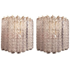"Venini, ""Tronchi"" Murano Glass Super Elegant Pair of Sconces"
