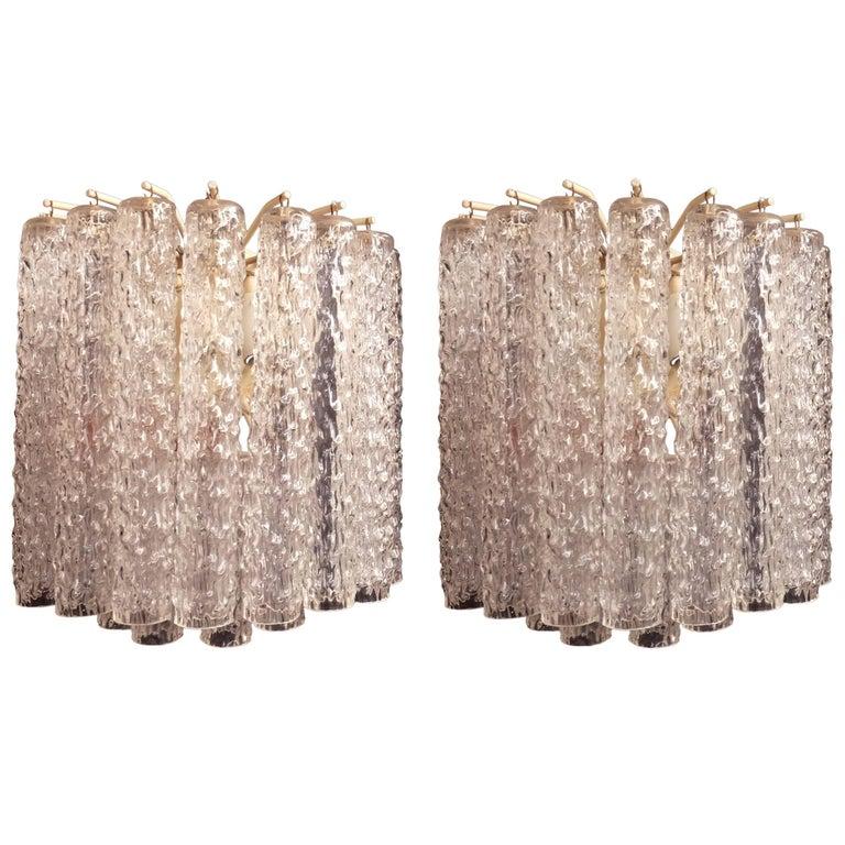 """Venini, """"Tronchi"""" Murano Glass Super Elegant Pair of Sconces"""