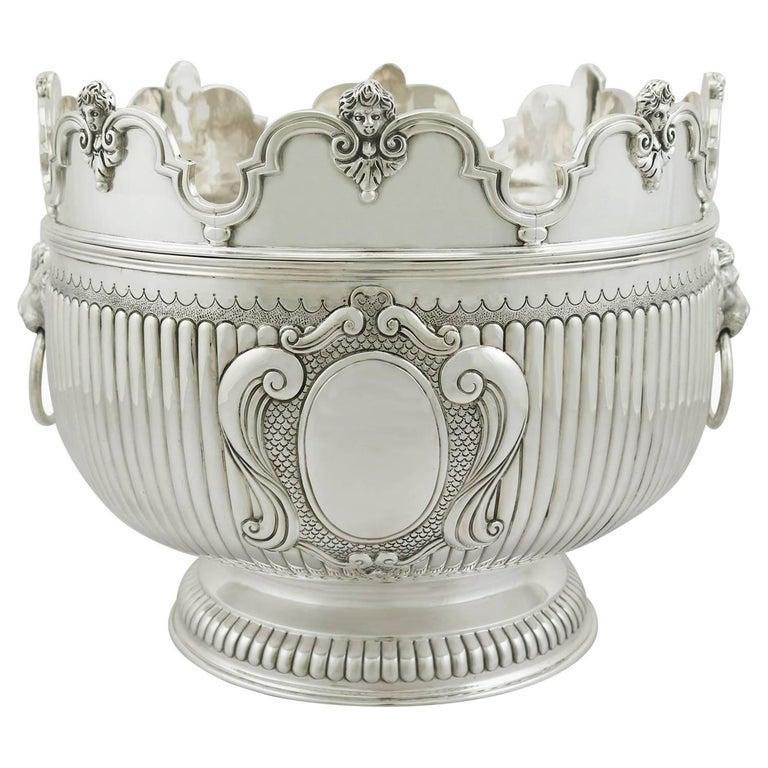 Victorian Britannia Standard Silver Monteith Bowl