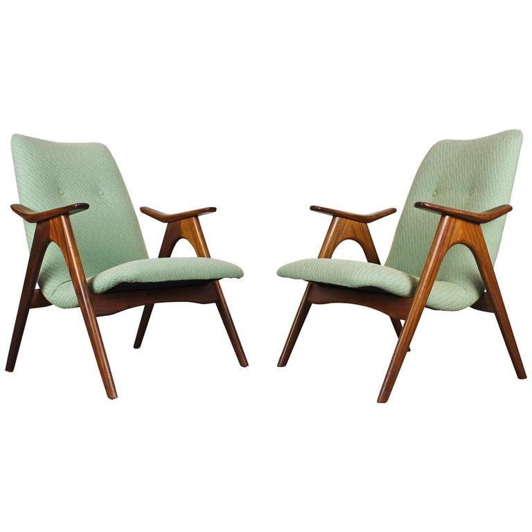 Pair of Louis Van Teeffelen Lounge Chairs for Webe, 1960 Solid Teak Green White